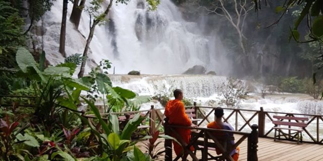 "Monks at a waterfall <img src=""images/"" width=""800"" height=""600"" alt=""luang prabang - 20180814 140139 13307545932739005852 640x320 - Laos: Wham Bam Thank You Luang Prabang!""> <img src=""images/"" width=""800"" height=""600"" alt=""laos - 20180814 140139 13307545932739005852 640x320 - Laos"">"